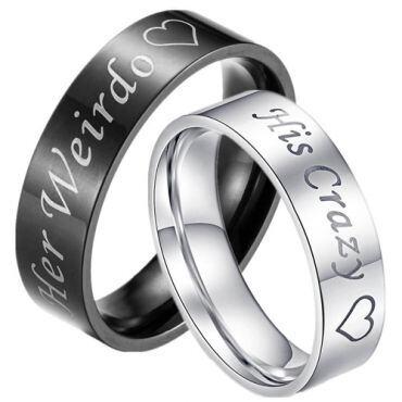 *COI Tungsten Carbide Her Weirdo His Crazy Pipe Cut Ring-TG3376