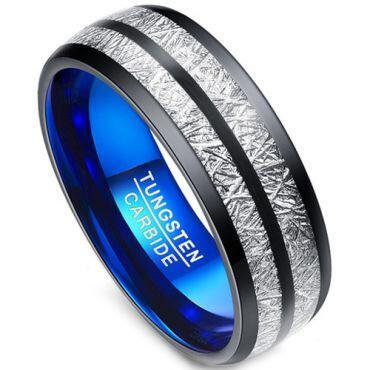 COI Tungsten Carbide Black Blue Meterorite Dome Ring-TG3403AA