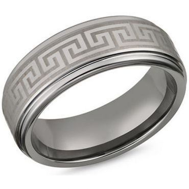 *COI Tungsten Carbide Greek Key Step Edges Ring - TG3410CC