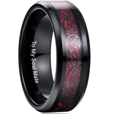 COI Black Red Tungsten Carbide Dragon Beveled Edges Ring-TG3422