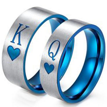 *COI Tungsten Carbide King Queen Heart Pipe Cut Ring-TG3428