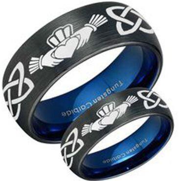 COI Tungsten Carbide Black Blue Mo Anam Cara Dome Court Ring - TG3447