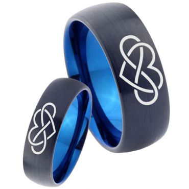 *COI Tungsten Carbide Black Blue Infinity Heart Dome Court Ring - TG3449