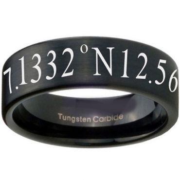 COI Black Tungsten Carbide Custom Coordinate Ring - TG3456CC
