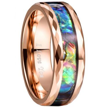 COI Rose Tungsten Carbide Abalone Shell Faceted Ring-TG3460
