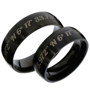 COI Black Tungsten Carbide Dome Custom Coordinate Ring-TG3486