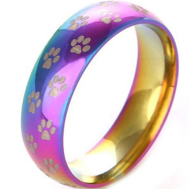 *COI Tungsten Carbide Rainbow Color Ring With Paws- TG3491AA