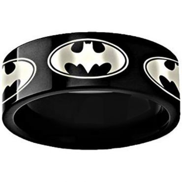 *COI Black Tungsten Carbide Batman Pipe Cut Flat Ring - TG3494