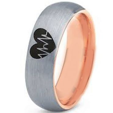 COI Tungsten Carbide Rose Silver Heartbeat & Heart Ring-TG3496CC