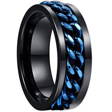 COI Black Tungsten Carbide Blue Chain Ring-TG3515
