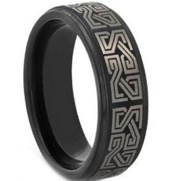 *COI Black Tungsten Carbide Celtic Step Edges Ring-TG3546