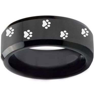 COI Black Tungsten Carbide Paws Print Beveled Edges Ring-TG3550