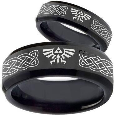 COI Black Tungsten Carbide Legend of Zelda Ring-TG3561BB