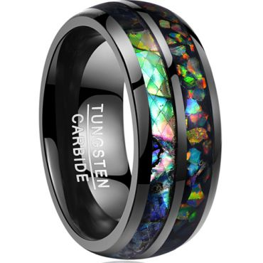 COI Black Tungsten Carbide Crushed Opal Dome Court Ring - TG3565B