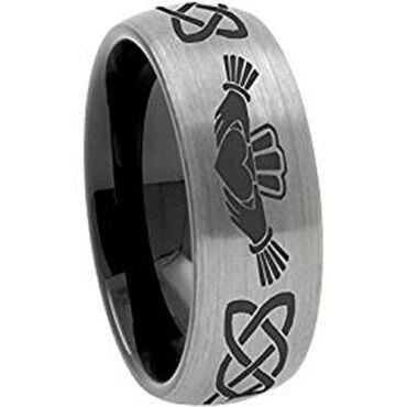 *COI Tungsten Carbide Mo Anam Cara Celtic Dome Court Ring-3571B