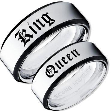 COI Tungsten Carbide Black Silver King Queen Ring-TG3573