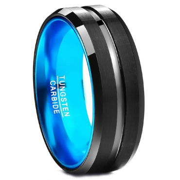 COI Tungsten Carbide Black Blue Center Groove Ring-TG359