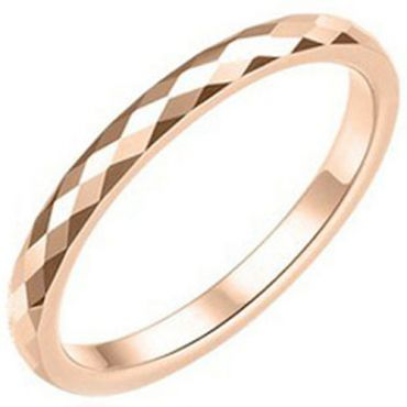 COI Rose Tungsten Carbide Faceted Wedding Band Ring-TG3626