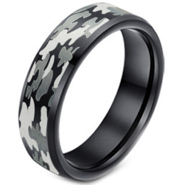 COI Black Tungsten Camo Pattern Beveled Edges Ring-TG3627A