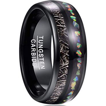 COI Black Tungsten Carbide Crushed Opal & Meteorite Dome Ring-TG3675