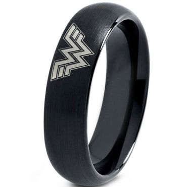 *COI Black Tungsten Carbide Wonder Woman Dome Court Ring-TG3681