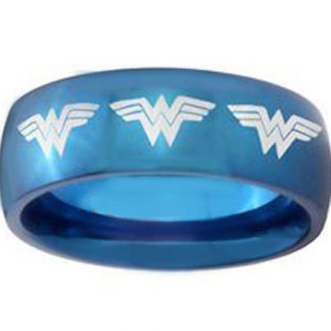 *COI Blue Tungsten Carbide Wonder Woman Dome Court Ring-TG3685