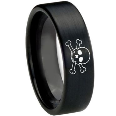 COI Black Tungsten Carbide Skull Pipe Cut Flat Ring-TG3726CC