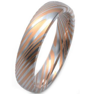 COI Tungsten Carbide Damascus Dome Court Ring - TG3752