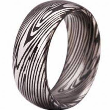 *COI Tungsten Carbide Damascus Dome Court Ring - TG3807