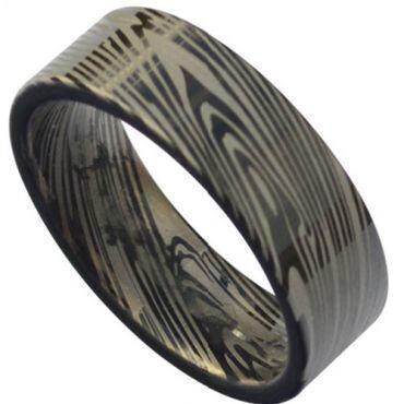 *COI Black Tungsten Carbide Damascus Pipe Cut Flat Ring-TG3818