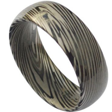 COI Black Tungsten Carbide Damascus Dome Court Ring-TG3824