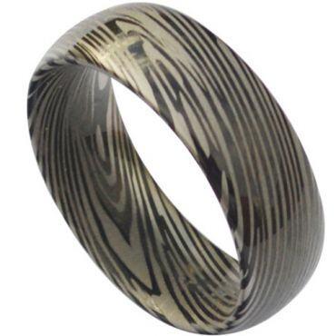 *COI Black Tungsten Carbide Damascus Dome Court Ring-TG3824