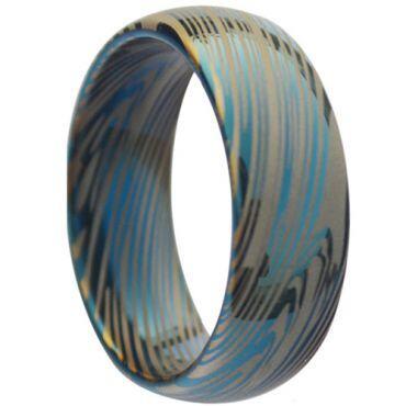 *COI Tungsten Carbide Damascus Dome Court Ring-TG3833