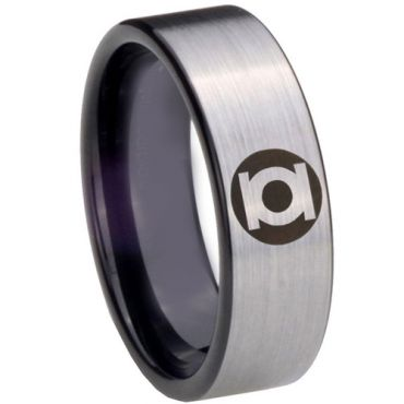 COI Tungsten Carbide Green Lantern Pipe Cut Flat Ring-TG3838