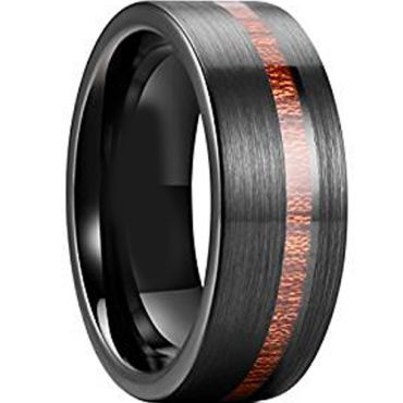 COI Black Tungsten Carbide Offset Groove Wood Ring - TG3847AA