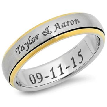 *COI Tungsten Carbide Ring With Custom Names Engraving - TG3850