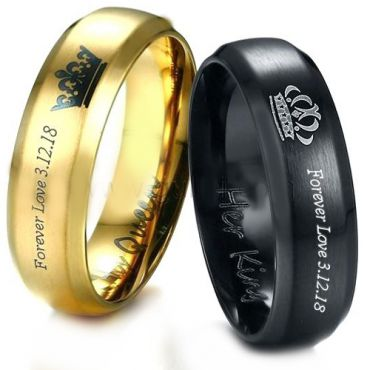 *COI Tungsten King Queen Ring With Custom Engraving-TG3887