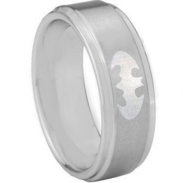 *COI Tungsten Carbide BatMan Step Edges Ring - TG3890AA