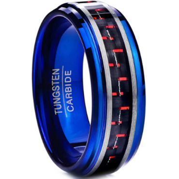 COI Blue Tungsten Carbide Ring With Red Carbon Fiber-TG3898BB
