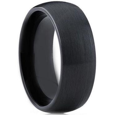 *COI Black Tungsten Carbide Dome Court Ring-TG3903AA