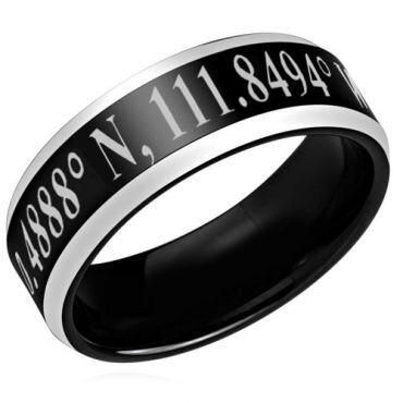 COI Tungsten Carbide Custom Coordinate Beveled Edges Ring-TG3939