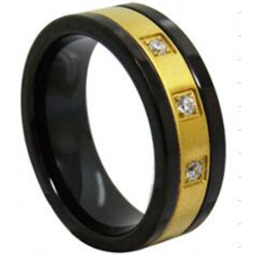 *COI Tungsten Carbide Black Gold Tone Ring With Zirconia-TG3942AA