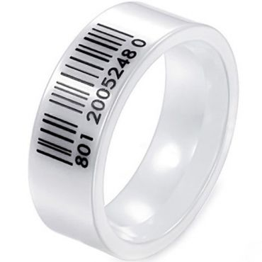 COI White Ceramic Barcode Pipe Cut Flat Ring - TG3948