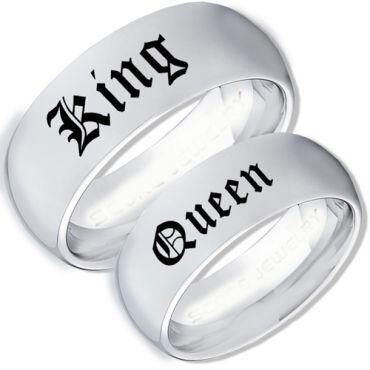 COI Tungsten Carbide King Queen Dome Court Ring-TG3964BB