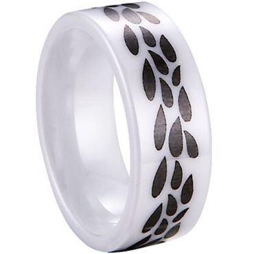 COI White Ceramic Pear Drops Pipe Cut Flat Ring-TG3969