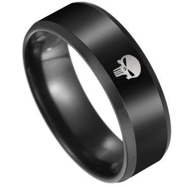 COI Black Tungsten Carbide Marvel Punisher Ring-TG3971