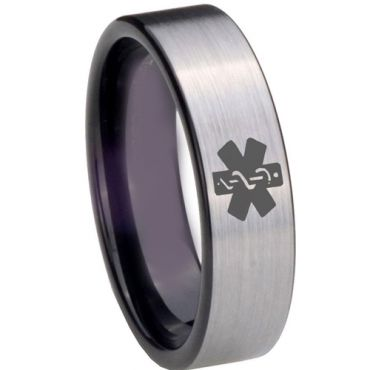 COI Tungsten Carbide Medic Alert Pipe Cut Flat Ring-TG3975BB