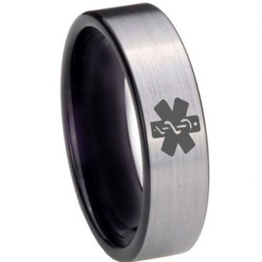 COI Tungsten Carbide Medical Alert Pipe Cut Flat Ring-TG3975BB