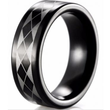 COI Black Tungsten Carbide Checkered Flag Ring - TG4025B