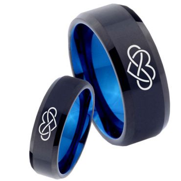 COI Tungsten Carbide Black Blue Infinity Heart Beveled Edges Ring - TG4035